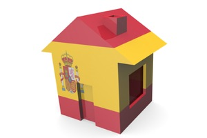 house 3d with flag of spain